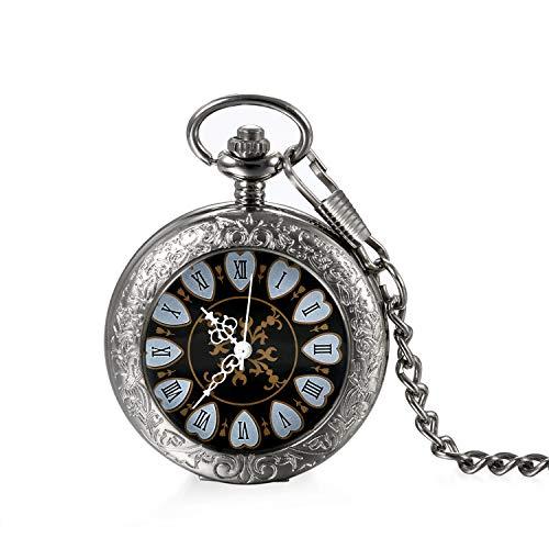 Damen Herren Steampunk mechanische Herz Taschenuhr Silber, LANCARDO Retro Zahnrad Ritzel Kettenuhr Skelett Uhr mit Halskette Kette