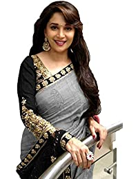 Macube Women's Bhagalpuri Silk Saree With Blouse Piece (Ms721_Saree_Grey)