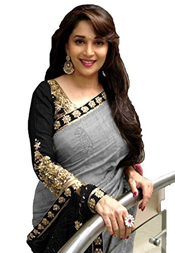 Macube Bhagalpuri Grey and Black color saree with blouse piece