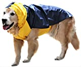 #10: Doxters Slip on Dog Raincoat, Easy Wear Magic Cloak Size 22, For Medium and Large Dogs, Like Beagle, Cocker Spaniel, Dachsund, Pariah, French Bull Dog Puppies of Large Breeds Yellow and Navy Blue MGCK004S22