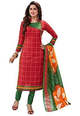 Ishin Cotton Red & Green Printed Unstitched Salwar Suit Dress Material (Anarkali/Patiyala) With Cotton Dupatta