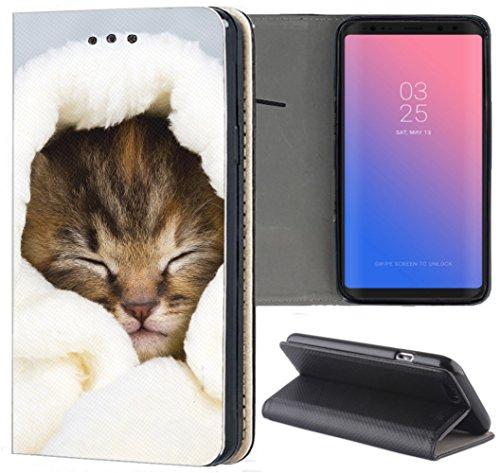 S3 Neo Hülle Premium Smart Einseitig Flipcover Hülle Samsung S3 Neo Flip Case Handyhülle Samsung S3 Motiv (1421 Katze Katzen Baby Braun Blau Weiß) ()