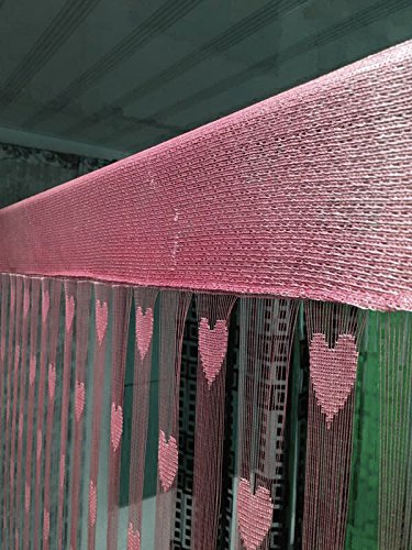 Handloomwala Beautiful Summer Heart 2 Piece Polyester Net Curtain - 7ft, Pink
