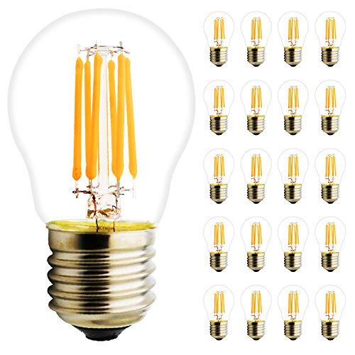 G45 6W LED Base Classic A Lampe, in Kolbenform mit E27-Sockel, nicht dimmbar, Ersetzt 50 Watt, Filamentstil Klar, 450LM Warmweiß 2700 Kelvin, 20er-Pack -