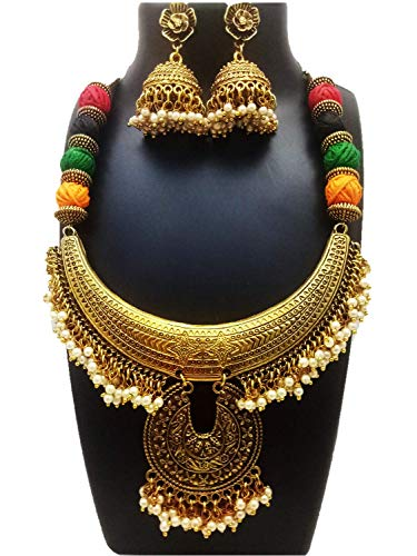 ShreeVari Fashion Gold Plated Traditional Kathyawadi Black and Download Necklace Set for Women
