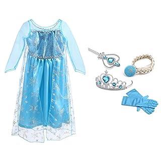 URAQT Ice Queen Princess Deluxe Fancy Costume Snowflakes Train Dress + Accessories