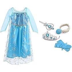 URAQT Vestido de Princesa Reina de las Nieves Disfraz Elsa Vestido Infantil Niñas Costume Azul