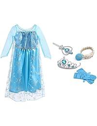 URAQT Vestido de Princesa Elsa, Reina Frozen Disfraz Elsa Vestido Infantil Niñas Costume Azul Cosplay de Disney Disfraz de Halloween, Cumpleaños, Carnaval y la Fiesta (150) Azul