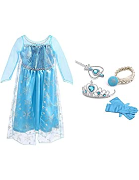 [Patrocinado]URAQT Vestido de Princesa Elsa, Reina Frozen Disfraz Elsa Vestido Infantil Niñas Costume Azul Cosplay de Disney...