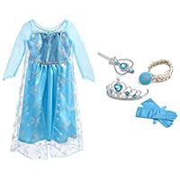 URAQT Vestido de Princesa Elsa, Reina Frozen Disfraz Elsa Vestido Infantil Niñas Costume Azul Cosplay de Disney Disfraz de Halloween, Cumpleaños, Carnaval y la Fiesta (130) Azul