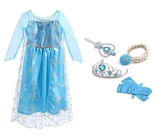 URAQT Mädchen Prinzessin Elsa Kleid Kostüm Eisprinzessin Set aus Diadem, Handschuhe, Zauberstab