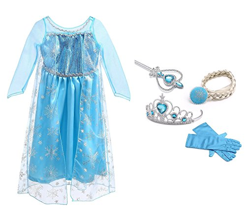 URAQT Mädchen Prinzessin Elsa Kleid Kostüm Eisprinzessin Set aus Diadem, Handschuhe, Zauberstab (Elsa Kostüme)
