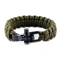 Fabulous Bijoux Bracelet Paracorde de Survie Longueur 3 métres Fermoir  Metal Mousqueton Corde Vert cca6ee07482a