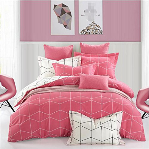 Mode Bettwäsche, Bettwäsche Bettwäsche vier Sätze von Herren einfach Bettwäsche, Baumwolle-Kit (Creme Leinen-look Herren)