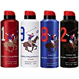 BHPC ( BEVERLY HILLS POLO CLUB ) Sport Deodorant Spray for Men No. 1, 9, 8, 2 -175 ml Each, Pack of 4