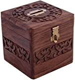 #10: Vian Handmade Wooden Square Piggy Bank For Money And Coins For Kids - Multi Color