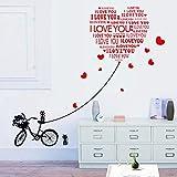 Gleecare Wandaufkleber Herausnehmbare Mauer mit Katze Fahrrad lieben Schlafzimmer TV Sofa hintergrundwand