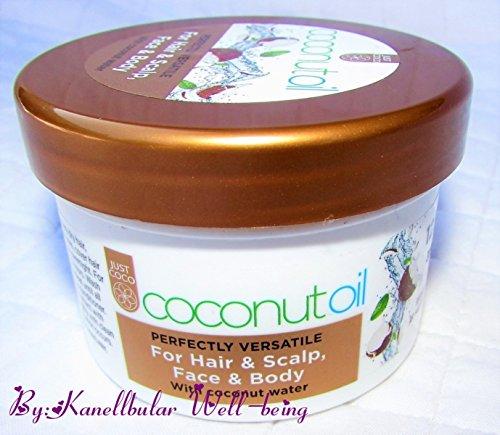 Aceite de coco cara cuero cabelludo cuerpo de pelo con agua de coco. Perfectamente multitarea versátil para cabello y cuero cabelludo, cara y cuerpo. 125 ml