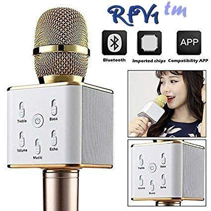 RFV1 (tm) Bluetooth Karaoke wireless mike compatible with all Smart Phones and with Other Functions like Echo , Treble , Bass , etc.