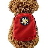 Crewell Hund Rucksack Geschirr Leine Tasche Mini Hundegeschirr Puppy Halsband Brustgurt Pet Geschirre, Rot, S