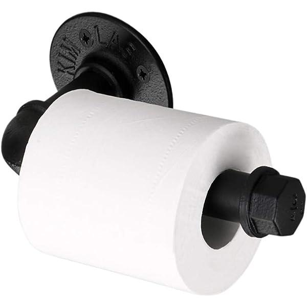 BTSKY Vintage Industrial Pipe Toilet Paper Holder Bathroom Accessories Black Wall Mounted Retro Toilet Roll Holder