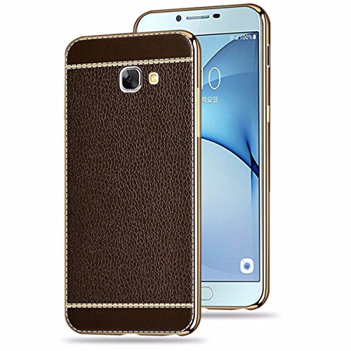 Norby Luxury Electroplated Gold Side Chrome+Leather Back Hard Case Ultra Thin Back Cover Case For Samsung Galaxy J7 Prime - Brown