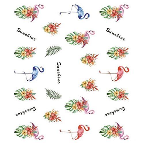 Lumanuby 5 Blatt/Lot Mode Rosa Flamingo Nagelsticker Wasser Transfer Aufkleber von Bunt Tropisch Blume Nail Tattoo für Damen für Salon Oder Home-Einsatz Size 6.2x5.5cm (Tattoo Tropische Blume)
