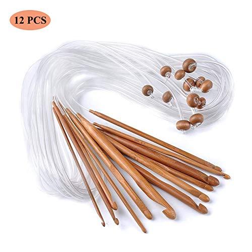 12 Stück Tunesische Bambus Afghanische Häkelnadel verschwelt Bambus Nadel Teppich Extended Crochets Afghan Carbonized Häkelnadeln in Verschiedenen Größen ( 3-10mm) Gesamtlänge von 1,2 m (12 Pieces)