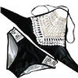 IMJONO.Frauen-Sandy-Strand-Push-up gepolsterter BH-BH Sexy Bikini-Badeanzug-gesetzte Strand-Badebekleidung(Schwarz,Large)