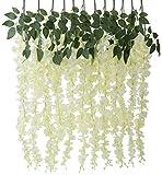 12 STK. Blauregen Seidenblumen, DIY Künstlicher Blumen Dekorblumen 110CM für Hochzeit/Geburtstag/ Baby Shower/Weihnachten Wisteria Weiß Glyzinie