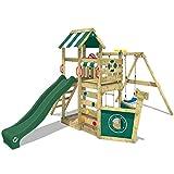 WICKEY Spielturm SeaFlyer Spielgerät Garten Kletterturm mit Schaukel, Rutsche und viel Zubehör, grüne Rutsche + grüne Plane