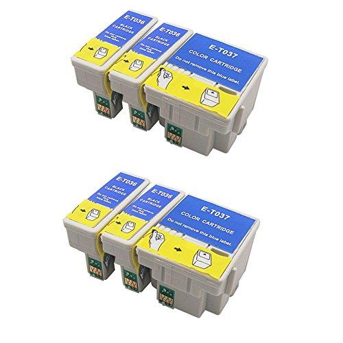 Lot de 6 cartouches d'encre génériques (non originale) compatibles avec les imprimantes suivantes : Epson Stylus C42 C42ux C44 C44ux C46 plus . Remplacent les références d'origine: Epson Stylus Photo T036 T037