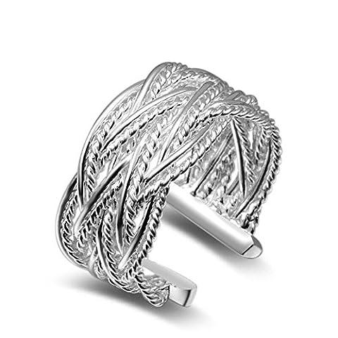 bodya femmes bijoux Tresses Anneaux de corde bande large plaqué argent Anneau Bague ouverture 8#
