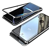 Jonwelsy Coque Xiaomi Mi Mix 3, Technologie d'adsorption Magnétique Forte Métal Bumper Frame, Coque Arrière en Transparent Verre Trempé Etui Housse pour Xiaomi Mi Mix 3 (6,39 Pouce) (Argent)