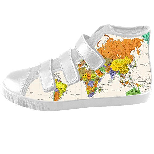 Custom Carte du monde Kids Canvas Shoes Chaussures Footwear Sneakers Shoes Chaussures C