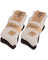 4 Paar BRUBAKER Alpaka Socken sehr dick flauschig und warm - 100% reine Alpakawolle