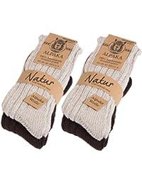 Brubaker Alpaga 4paires de chaussettes très épaisse moelleuse et chaude–100% laine d'alpaga pur