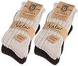 Brubaker 4 Paar Alpaka Socken sehr dick flauschig und warm - 100% reine Alpakawolle