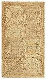 HAMID Alfombra Yute Damero Color Natural - Alfombra 100% Fibra de Yute (60x110cm)