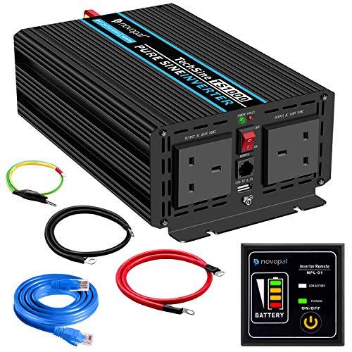 1000W KFZ reiner Sinus Spannungswandler - Auto Wechselrichter 12v auf 240v Umwandler - Inverter Konverter mit 2 UK Steckdose und USB-Port - inkl. 5 Meter Fernsteuerung - Spitzenleistung 2000 Watt 240v Inverter