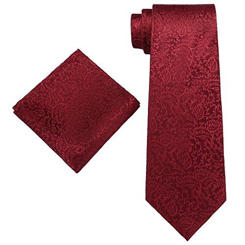 Landisun 18L Krawatten Set 2 tlg Burgund Paisleys : Seiden Krawatte + Einstecktuch &Kunststoffhaken