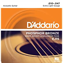 D'Addario EJ15 - Juego de cuerdas para guitarra acústica de fósforo/bronce, 010' - 047'
