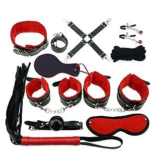 Sex-Spielzeug für Anfänger, 12shage Sex Bondage Schwarz Sexy Leder New Adult Sex Toy Fetisch Fessel-Set für Schlafzimmer