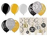 Feste Feiern Geburtstagsdeko Zum 30 Geburtstag I 12 Teile All In One Set Hängedekoration Swirl Luftballon Gold Schwarz Silber Party Deko Happy Birthday