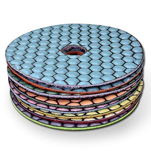 Diamant Schleifpad Set (9 teilig), Schleifscheibe zum schleifen und polieren von Naturstein, Granit, Marmor, Glas, Klettaufnahme, phasenbearbeitung, perfekt zum entgraten, für neuen Glanz, Ø 100 mm