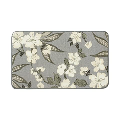 Laura Ashley Madeline High Definition Printed Memory Foam 20 in. x 32 in. Accent Rug in Dove Grey