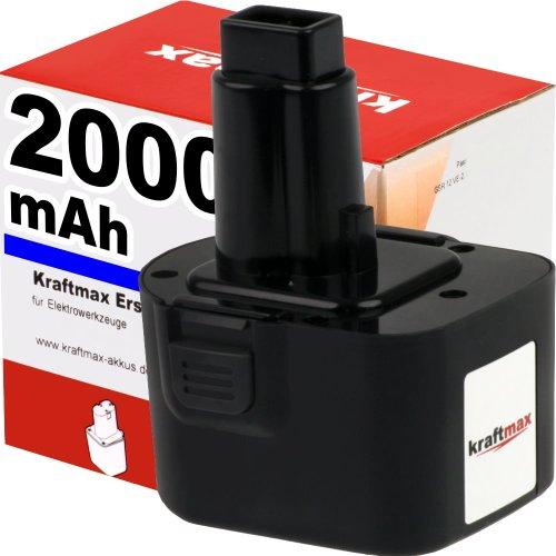 Preisvergleich Produktbild Kraftmax 12V Akku für DEWALT - 2000mAh / NI-CD - DE9074 / DE9075 / DE9071 / DE9501 / DE 9072 / DE9071 / ELU / EZWA 49 / 60 / ELU / Berner / 12 V