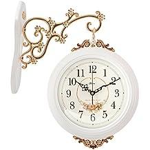 EDSH reloj de pared Reloj de doble cara con estilo europeo Reloj colgante Salón de madera maciza Dormitorio Mute Reloj de pared de personalidad creativa ( Color : Blanco )