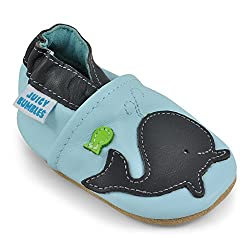 Juicy Bumbles - Weicher Leder Lauflernschuhe Krabbelschuhe Babyhausschuhe mit Wildledersohlen. Junge Mädchen Kleinkind- Gr. 6-12 Monate (Größe 20/21)- Wal