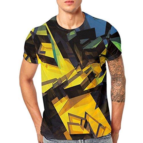 Malloom® Sommer Herren Jung Männer Block 3D Printing T-Shirts Shirt Kurzarm T-Shirt Bluse - Iron Mann Kostüm Aus Pappe